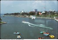 Historic photo from 1970 - Ontario Place - including The Forum, the Cinesphere, the pavillions, Lakeshore Beach in Ontario Place