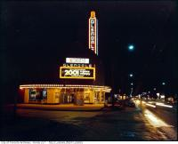 Historic photo from 1966 - Glendale Theatre at night with 2001 A Space Odyssey posters 1661 Avenue Road in Bedford Park