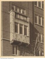 Historic photo from 1927 - Claridge Apartments distinctive rectangular oriel window ledge and balcony detail overlooking Avenue Road in South Hill
