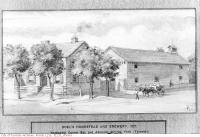 Historic photo from 1827 - Watercolour of Doels Homestead and Brewery by F.V. Poole in Downtown