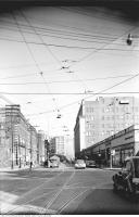 Historic photo from 1950 - College Street looking east from Bay St to Eatons College Street and Bay Street addition in Downtown