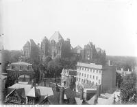 Historic photo from 1913 - Looking northwest to Parliament Buildings over Toronto General Hospital in Discovery District
