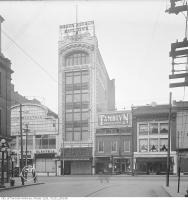 Historic photo from 1919 - Mason and Risch Piano Building. Constructed 1910, Demolished 1974 - at Shuter Street,  in Downtown