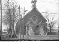Historic photo from Monday, November 21, 1921 - Double entrance and wooden bell tower - Davisville Church, 1992 Yonge Street in Chaplin Estates