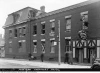 Historic photo from Saturday, March 16, 1940 - Avonmore Hotel fire - side entrance, separate for men and ladies in Garden District