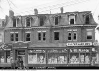 Historic photo from Saturday, March 16, 1940 - Avonmore Hotel fire damage - Gerrard and Jarvis streets - A&P and Nicholls Drug Stores on main floor in Garden District