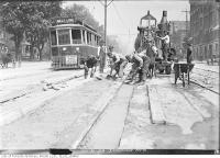 Historic photo from Friday, May 30, 1919 - Belt Line car 592 passing street car track construction on Spadina Avenue in Chinatown (Spadina Ave)