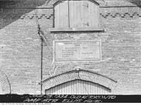 Historic photo from Thursday, June 28, 1934 - Close up of plaque over the door of the old West Toronto Waterworks Pumping Station - Toronto Junction Water Works 1888 in Swansea