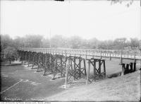 Historic photo from Thursday, August 1, 1912 - A wooden Crawford Street Bridge in Trinity Bellwoods