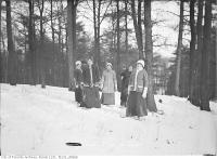 Historic photo from Saturday, February 14, 1914 - Women snow shoeing, High Park in High Park