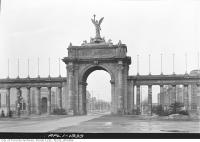 Historic photo from Saturday, April 1, 1939 - Close-up of Princes Gates looking west in CNE
