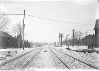 Historic photo from Thursday, February 9, 1911 - GTR. South Parkdale right-of-way looking west across Dunn Ave S. Parkdale Station just west of Close Avenue in Parkdale