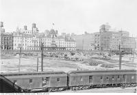 Historic photo from Thursday, October 21, 1915 - Union Station site looking north across Front Stree to the Queens Hotel in Financial District