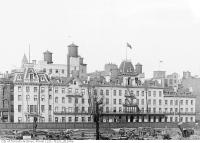 Historic photo from Thursday, October 21, 1915 - Close up of Queens Hotel from Union Station site in Financial District