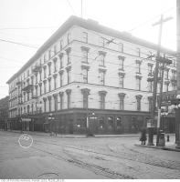 Historic photo from 1919 - Rossin House (then the Prince George Hotel) with fire escapes on front in Financial District
