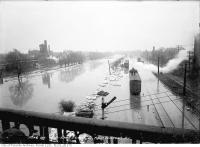 Historic photo from Monday, March 27, 1916 - Don River flooded south from Wilton Avenue (Dundas) in Riverside-South Riverdale