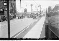 Historic photo from Thursday, November 14, 1929 - 11:20AM Lansdowne Avenue - Royce Avenue crossing with train waiting in The Junction