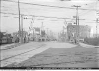 Historic photo from Friday, April 6, 1923 - Royce Avenue (Dupont St.) and Dundas Street railway crossing looking east in The Junction