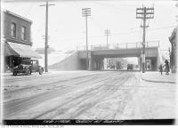 Historic photo from Wednesday, February 1, 1928 - Queen Street East subway at De Grassi Street in Riverside-South Riverdale