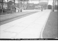 Historic photo from Monday, May 10, 1926 - Queen Street East - De Grassi crossing south from railway platform looking across McGee in Riverside-South Riverdale