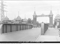 Historic photo from Thursday, July 15, 1937 - Railway bridge in front of the C.N.E. Dufferin Gates in CNE