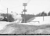 Historic photo from Tuesday, January 22, 1946 - Blythwood Road grading and paving - looking west from Strathgowan Crescent up towards Mount Pleasant in Sherwood Park