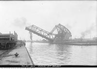 Historic photo from Friday, August 20, 1920 - Raising the Cherry Street lift bridge (north bascule)  in Cherry Beach