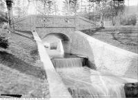 Historic photo from Tuesday, April 18, 1916 - Mount Pleasant Cemetery bridge and waterfalls in Mount Pleasant Cemetery