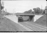 Historic photo from Wednesday, July 28, 1920 - Dunn Avenue bridge with locomotive passing under in Parkdale