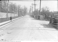 Historic photo from Wednesday, November 22, 1916 - Casa Loma stone fence along the north side of Davenport Road east from Walmer Road in Casa Loma
