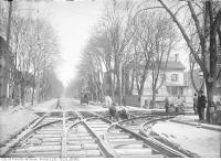 Historic photo from Friday, May 5, 1911 - Church Street north at Wilton Street (Dundas Street) Track laying in Garden District