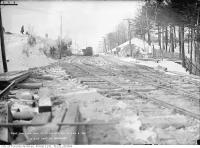 Historic photo from Thursday, February 8, 1912 - St. Clair Avenue west to Bathurst Street during civic car line construction in Casa Loma