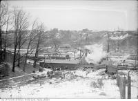 Historic photo from Saturday, February 27, 1915 - Bloor Street Viaduct construction looking east in Don River
