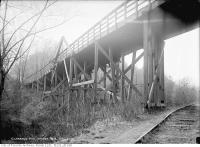 Historic photo from Thursday, December 5, 1912 - Looking up at the Clarence Avenue bridge (Heath Street over the  Belt Line) in Mount Pleasant Cemetery