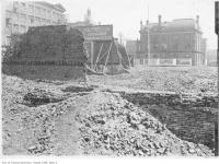Historic photo from 1907 - Site of new Customs house on Front Street amongst 1904 fire ruins in Downtown