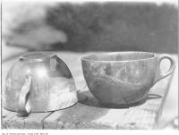 Historic photo from 1906 - Ironstone cups recovered from great fire 2 years later in Great Toronto fire of 1904