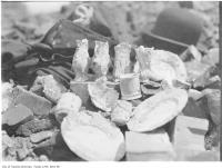 Historic photo from 1906 - Pottery recovered from great Toronto fire of 1904 in Great Toronto fire of 1904