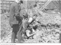 Historic photo from 1906 - Curio seekers in 1904 fire ruins still in ruins in Great Toronto fire of 1904