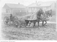 Historic photo from 1913 - Horse and wagon on a muddy Boon Avenue, Earlscourt in Little Italy (St. Clair)