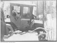Historic photo from 1912 - Electric automobile in accident on Glen Road Bridge in Rosedale