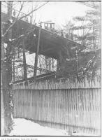 Historic photo from 1912 - Looking up at the electric automobile in accident on Glen Road Bridge in Rosedale