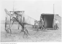 Historic photo from Tuesday, July 12, 1910 - Count Jacques de Lesseps Bleriot IX mono-plane with 3-cylinder Anzani engine, named Scarabee in Amesbury