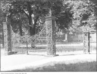 Historic photo from 1921 - Iron fence and gates, Jarvis Street where Jarvis Collegiate stands now in Upper Jarvis