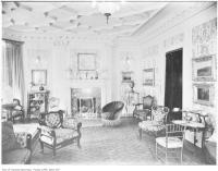 Historic photo from 1909 - Coffered ceiling and artwork in Sir Joseph W. Flavelle's residence - drawing room in Queens Park
