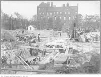 Historic photo from 1907 - Toronto General Hospital under construction - old Childrens Hospital in background (on College St.) in Discovery District