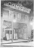 Historic photo from 1910 - Comique movie theatre marquee - 5 cents - operated 1908 to 1914 in Downtown