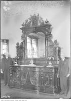Historic photo from 1911 - Carved black walnut buffet made by Jacques and Hay for Centennial Exhibition in Philadelphia in 1876 (won 1st place) in Financial District