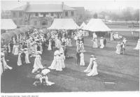 Historic photo from 1910 - Garden Party with tents and banners at Fort York in Fort York