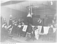 Historic photo from Sunday, April 9, 1911 - Sketching during life drawing class, Ontario School of Arts, The Grange in Art Gallery of Ontario