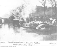 Historic photo from Monday, November 11, 1918 - Tank crushes car in Armistice Day parade on University Ave in University Avenue
